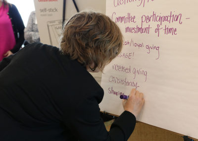 Attendee, Trinity, participating in an interactive session
