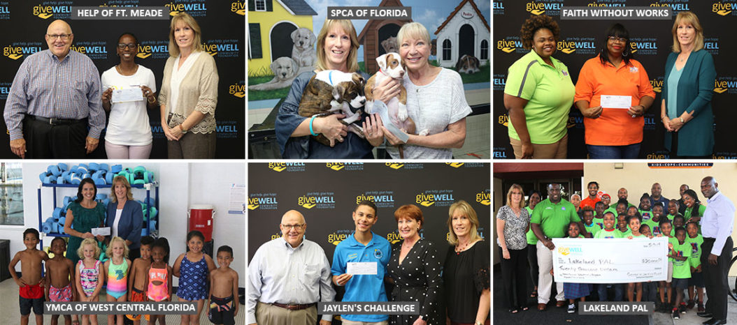 Collage of Impact Polk grant check presentations