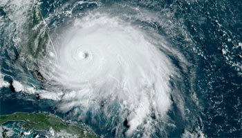 Satellite image of hurricane approaching Florida