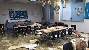 Kathleen Middle School classroom damaged by storm