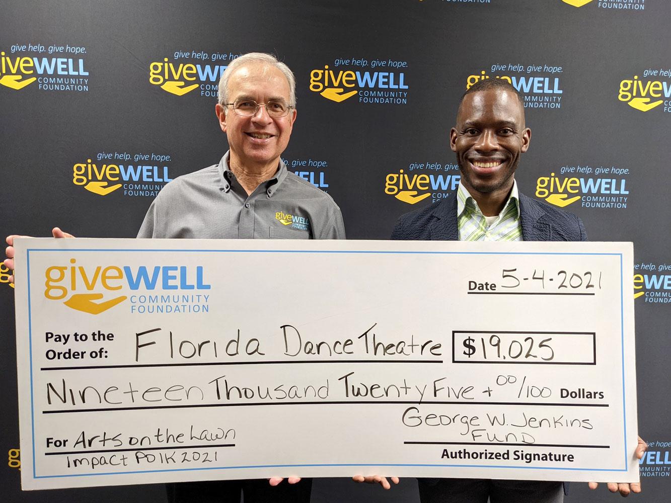 Impact Polk check presentation with Florida Dance Theatre