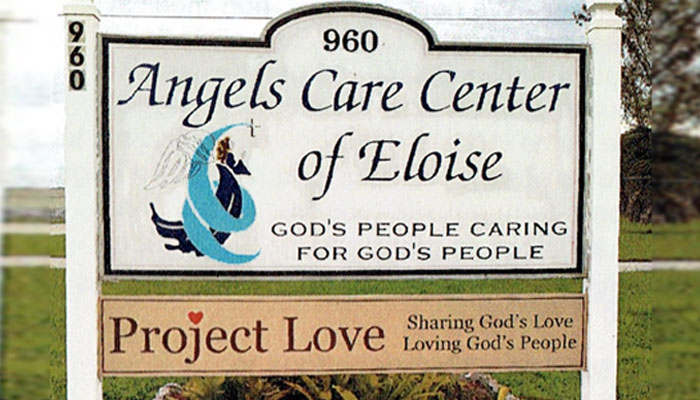 """Photo of a sign reading """"Angels Care Center of Eloise"""""""